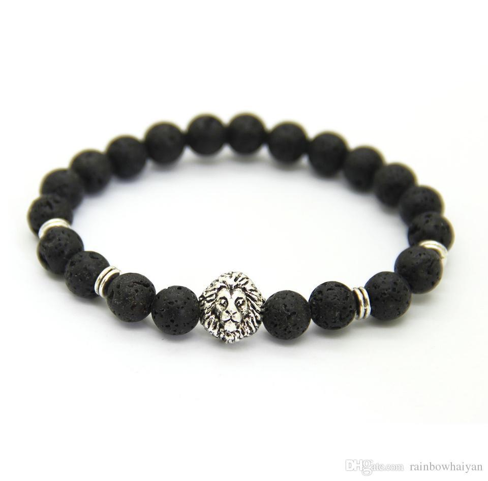 Neues Design 1 STÜCKE 8mm Lave Stein Perlen Gold Silber Rose Überzogene Lion Owl Beste Geschenk Armbänder