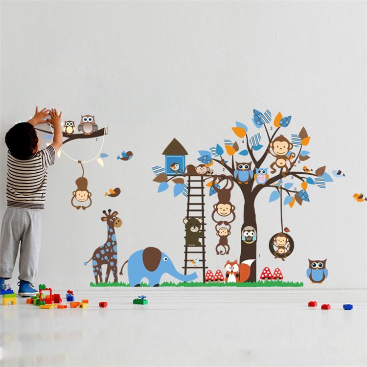 큰 나무 동물 벽 스티커 아이 룸 장식 원숭이 올빼미 폭스 곰 동물원 스티커 만화 DIY 어린이 아기 홈 데칼 벽화 아기