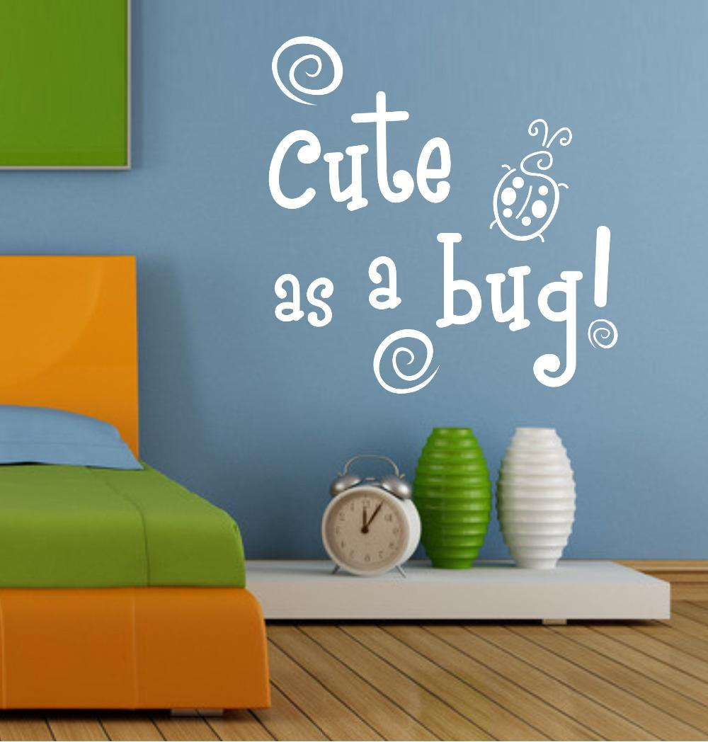 Wall Decals Quotes Cute As A Bug Blue Green Insects Baby Boys Nursery Wall Sticker Decal Mural Stickers To Decorate Walls Stickers Wall From Lin116 ... & Wall Decals Quotes Cute As A Bug Blue Green Insects Baby Boys ...