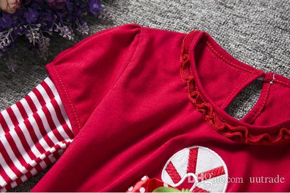 2016 gilrs Natale 2 pz / set abiti autunno ragazze velo tutu top T shirt vestito + ragazze pantaloni Tromba pantaloni ragazze vestito set bambini vestiti