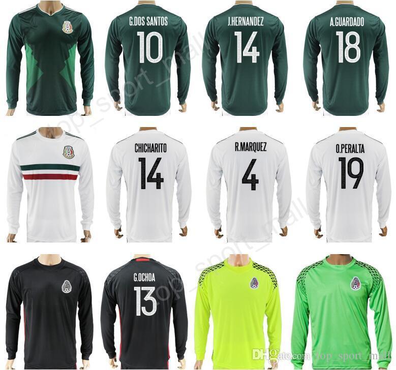 48984e023 ... andres guardado mexico adidas 201617 home  mexico long sleeve jersey  2017 2018 soccer mexican 10 giovani dos santos 14 javier hernandez 18