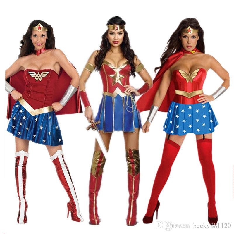 a81026e748526b Atacado Mulheres Adultas Halloween Mulher Maravilha Cosplay Sexy Traje  Superhero Fancy Dress Com Capa Frete Grátis