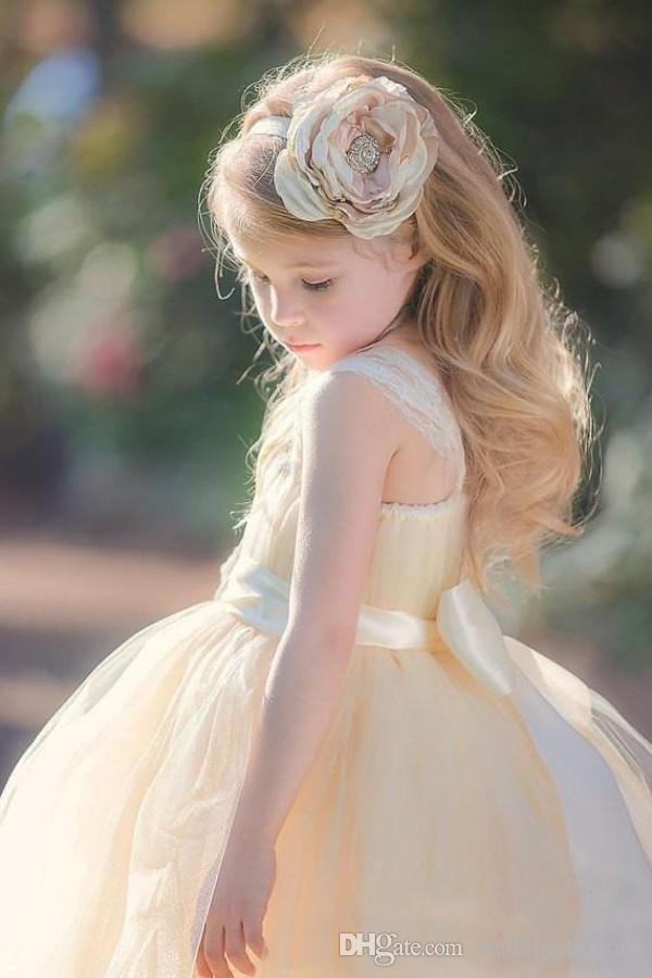 Champanhe Do Vintage De Tule Jardim Do Casamento Da Menina de Flor Vestidos de Renda Cintas Vestido Formal das Meninas com Flor Artesanal Sash Floor Length