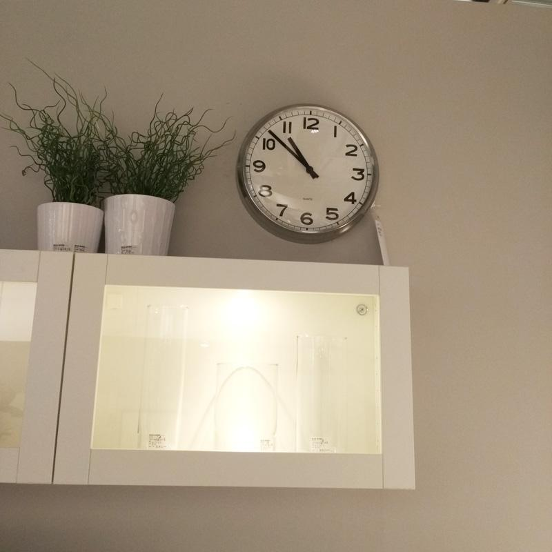Ikea Pugg Quartz Wall Clocks Round Stainless Steel Chrome