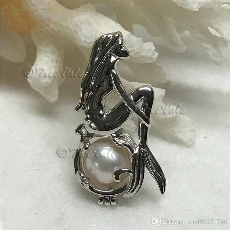 Silver Mermaid Pendant Necklace With Natural Oyster Pearls Charm Clavicle Chain Fine Pearl Cage Pendant Jewelry For Women