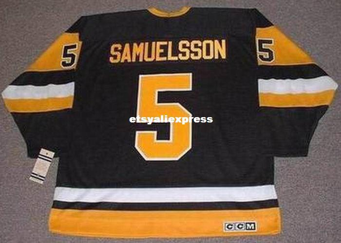 best loved 85680 8470d custom Mens ULF SAMUELSSON Pittsburgh Penguins 1992 CCM Jerseys Vintage  Cheap Retro Hockey Jersey