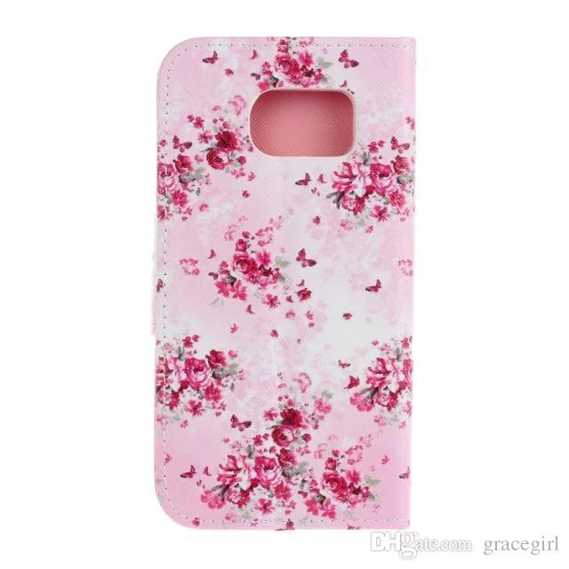 Custodia in pelle a portafoglio con fiore farfalla Samsung Galaxy S7 Edge IPhone 6 6S Plus.