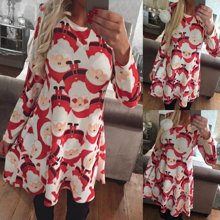 49e4c5cd2eb0 Womens Ladies Santa Christmas Xmas Printed Girls Party Jumper Flared Tops  Cosplasy Costumes Fancy Dresses Skater Swing Dresses Elegant Dress Cheap  Dress ...