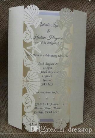 Romantico Hollow Sea Star Conchiglie Matrimonio Biglietti d'invito Personalizzato Partito stampabile Biglietto d'invito con busta di carta 200 pezzi