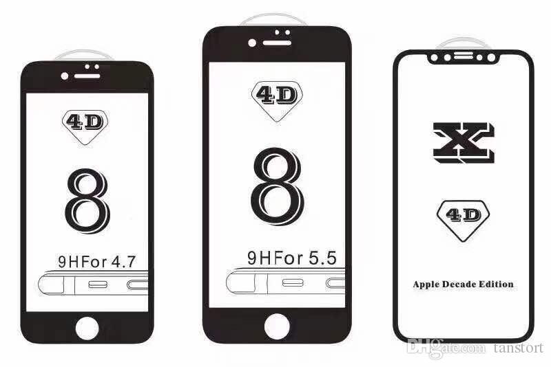 4D Kavisli Kenar Yuvarlak Tam Kapak Temperli Cam SOĞUK Oyma Ekran Koruyucu Film 7 7 artı 8 X Artı ücretsiz DHL 100 adet