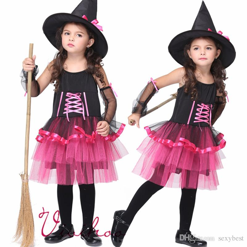 2018 Girls Witch Cosplay Halloween Fairy Costumes Girls Masquerade ...