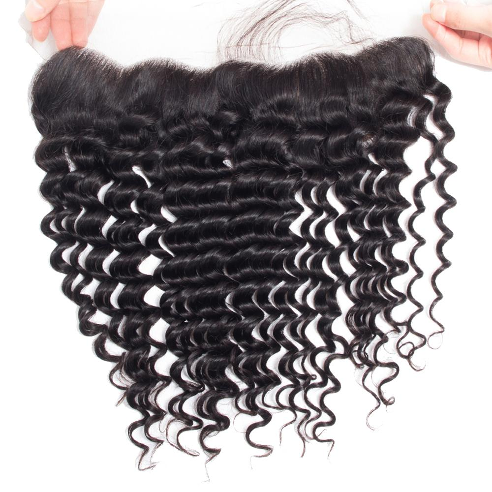 Deep Wave Brazilian Hair Weave 3 Bundles with Closure Remy Human Hair and 13x4 Lace Frontal Closure Brazilian Peruvian Indian Hair