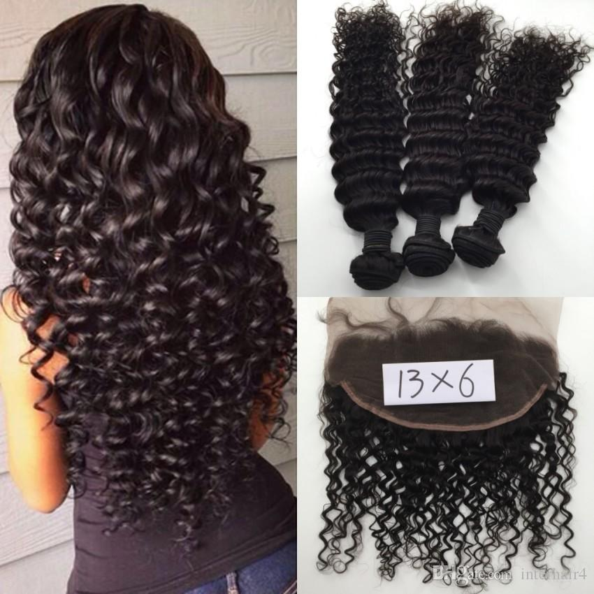 Brazilian Hair Bundles with Closure Ear to Ear Lace Frontal Closure 13*6 Deep Wave Hair Weaves with Lace Closure