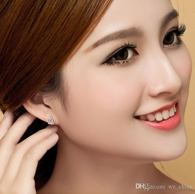 Simple Cross Crown Stud Earrings Princess Girl Ear Jewelry Silver Women Crystal Ornamet Explosion Female Model White Gold Stud Earrings