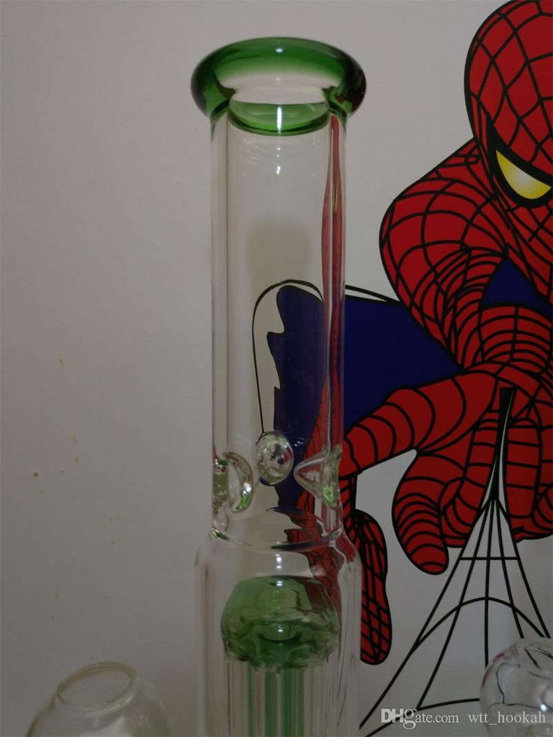 """New Glass Water Smoking Pipe Percolator Pipes Honeycomb Disk Bong With Arm Tree Perc Vase 12.5"""" Height"""