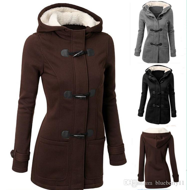 1c699321b Wholesale-Winter Jacket Women Hooded Coat Black Long Sleeve Fashion Autumn  Warm Cotton Women Parka Horn Button Coats Plus Size 2XL