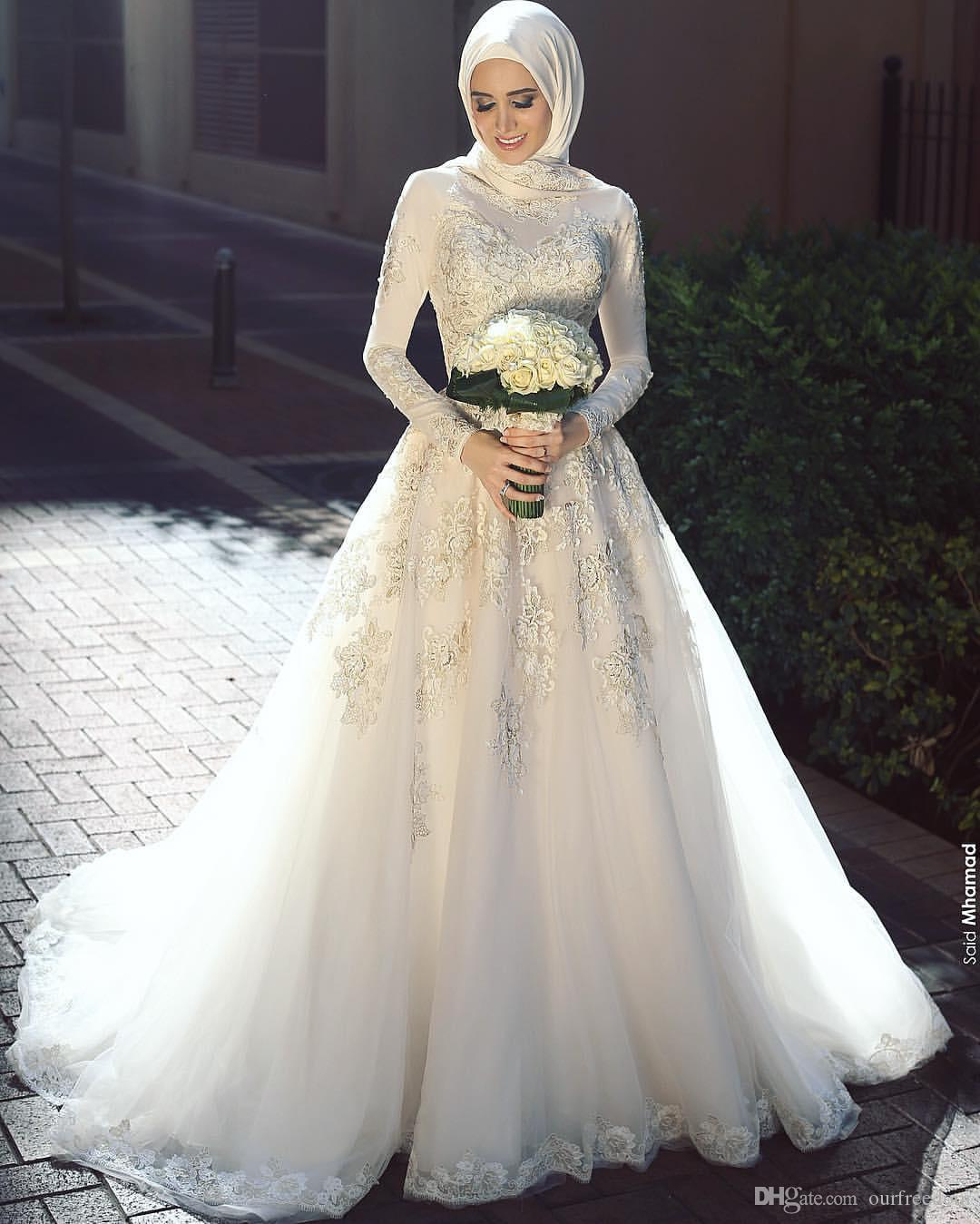 Elegant 2019 High Neck Lace Muslim Wedding Dresses Long Sleeve Appliques Country Style Bridal Gown Sweep Train For Saudi Arabic Custom Made