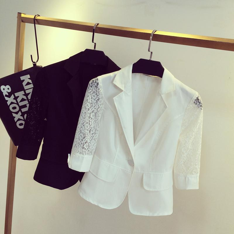 Ladies Summer Short Blazer Jacket 3/4 Sleeve Plus Size Lace Suit Blazer  Office Wear Clothes S 3XL Suits Blazers Woman Online With $26.04/Piece On  ...