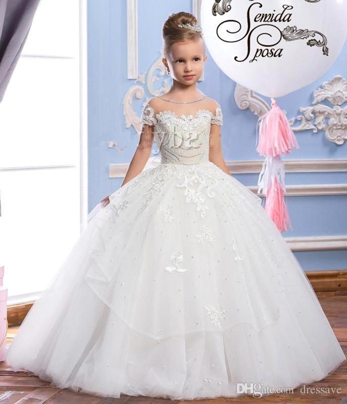 2019 Encaje Puffy Tul vestido de bola Vestidos de niña de flores Apliques Vestidos del desfile de la vendimia Vestido de la comunión Gran arco Volver por encargo