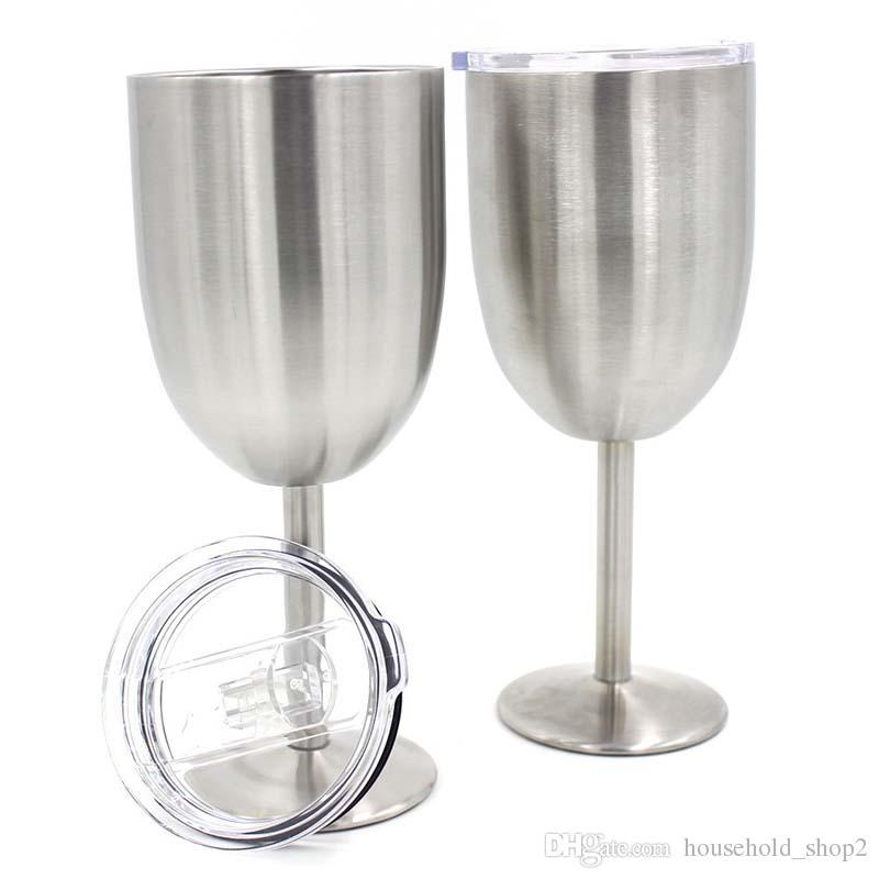 Argent 10OZ Verres à vin Goblets Double couche Verre à vin en acier inoxydable Bière café Verre à vin avec couvercle