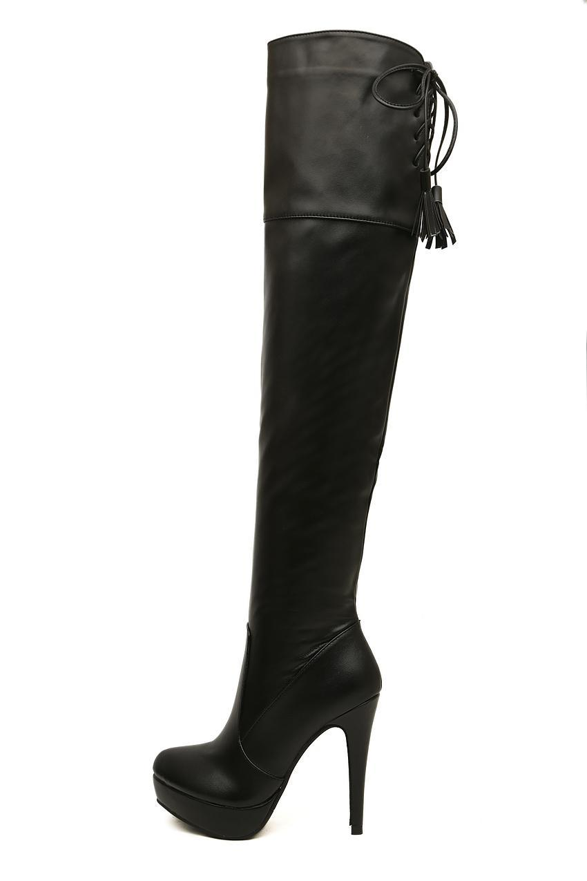 New black leather over the knee high heels boots women sexy slim fit thigh long boots 2014 winter cheap boots size 35 to 39