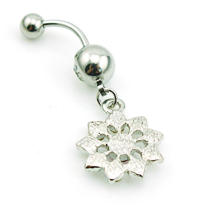 Body Piercing anillos del ombligo Barbell de acero quirúrgico cuelga el anillo del ombligo de la flor del Rhinestone blanco para la joyería de las mujeres