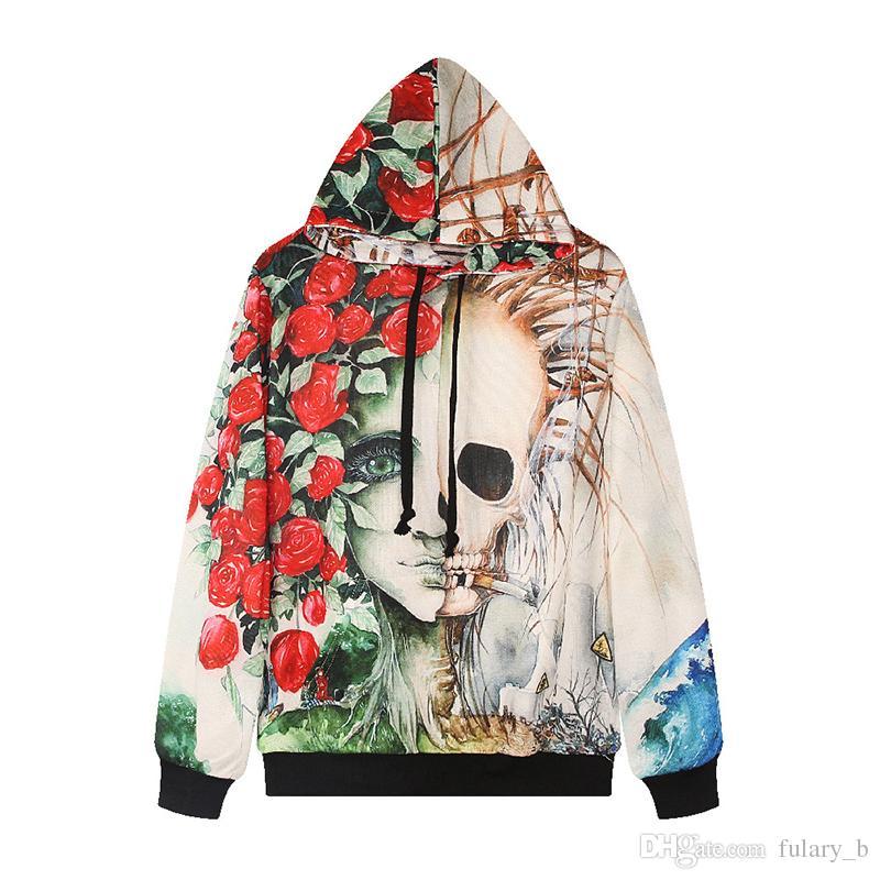 New Winter Women's Digital Printing Sweatshirts Rose Skull Hoodies Trend Of Street Casual Hooded Sweater Female