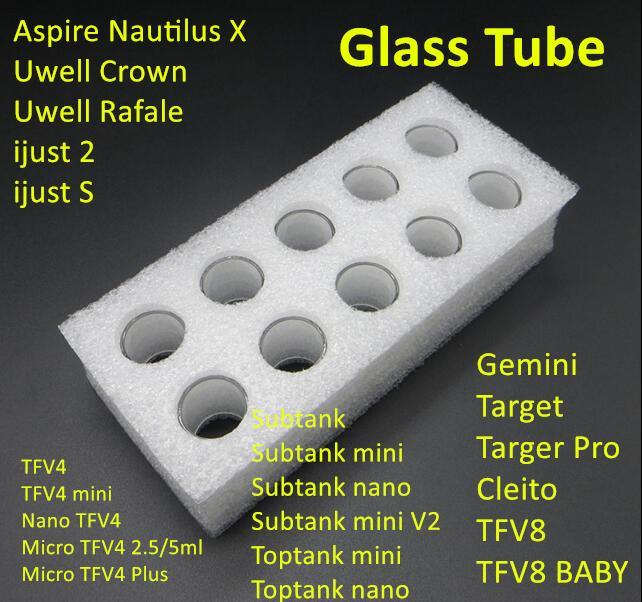 Glass Tube for iJust 2 S TFV8 BABY Micro TFV4 Melo 2 3 Mini Toptank Mini Nano Theorem UWELL Crown Rafale