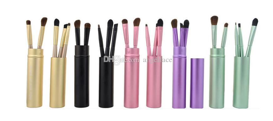 New Professional Pony Hair Eyeshadow Brushes Set & Kits Black Makeup Brushes For Eye Makeup Tool Kit + Round Tube