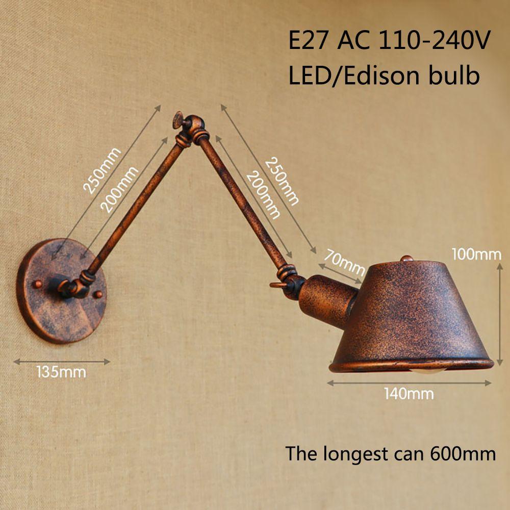 Loft Retro Matte Black Iron Shade Adjustable Swing Arm Reading Wall Lamps Lights e27 / e26 Sconce For Workroom Bedroom Bar Cafe Shop
