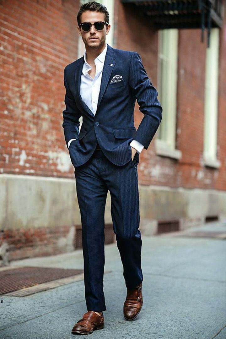 2016 Awesome Red Carpet Men Suit Slim Fit Navy Blue Wedding Suit ...