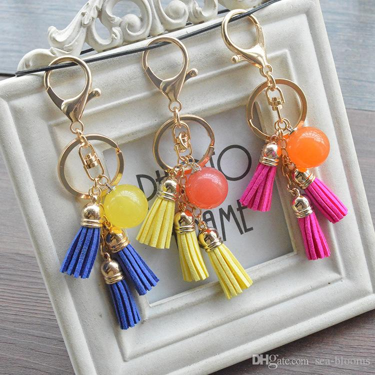 Women Candy Color Acrylic Beads Tassel Pendant Keychain Key Ring For Backpack Bag Car Key Chain Phone Accessories B801Q
