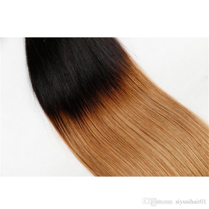 Peruvian Indian Malaysian Brazilian Virgin Straight Hair With Closure Ombre Hair Bundles With Closure 1B/27 Blonde Human Hair