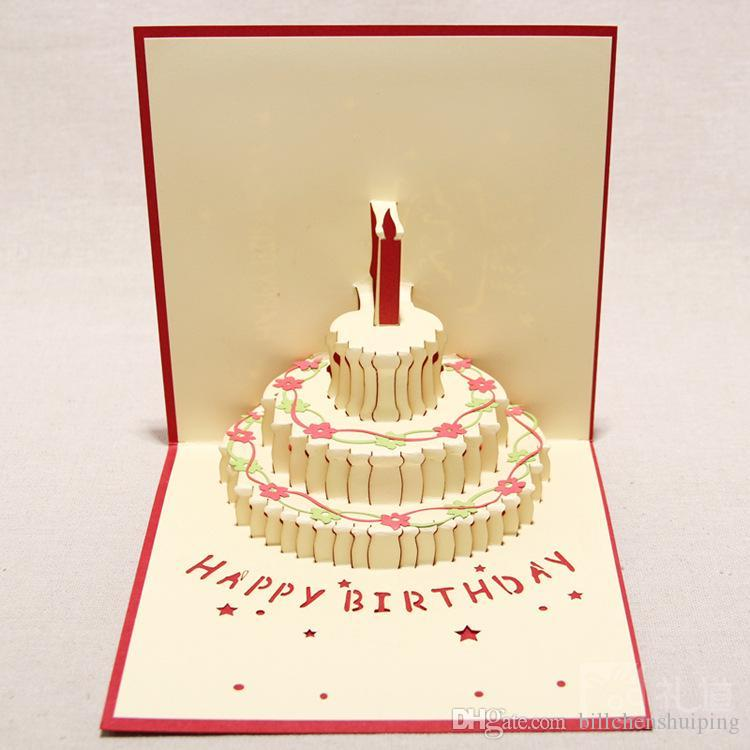 150mm150mm Birthday Cake 3d Pop Up Gift Greeting Blessing Cards