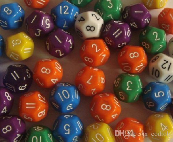 D12 Multicolore 12 faces Polyhedral Dice 18mm Boissons Jeux Pub Bar Jeu Décoratif Digital Dices Qualité Bon Prix # P6