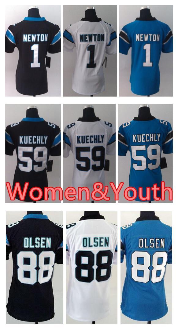 Women Carolina Panthers Jersey 1 Cam Newton 13 Kelvin Benjamin 59 ... 7450b912c