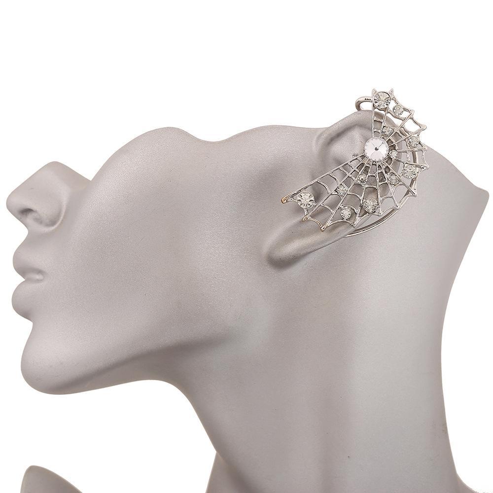 Aranha Web Brincos Mulheres Strass Cristal de Prata Banhado A Ouro Ear Cuff Clip On Brincos Brincos Para A Orelha Esquerda Jóias Jóias Livre DHL