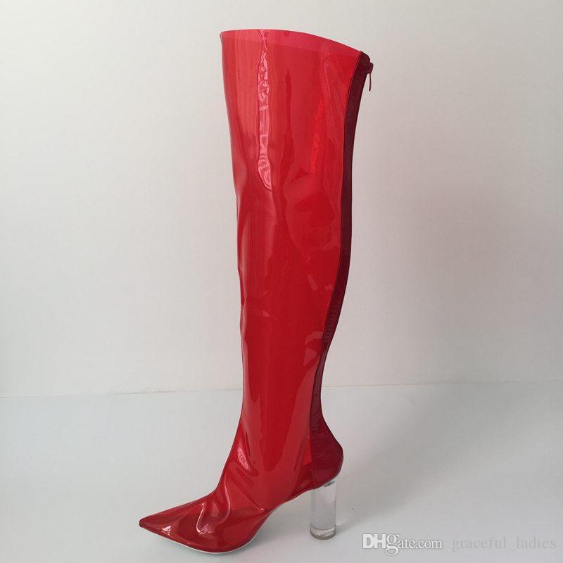 Kırmızı PVC Şeffaf Çizmeler Kadın Diz Üzerinde Uzun Çizmeler Sivri Burun Temizle Yuvarlak Topuklu Özelleştirilmiş Renkler Ayakkabı Kadın Çizmeler 2017 Yeni