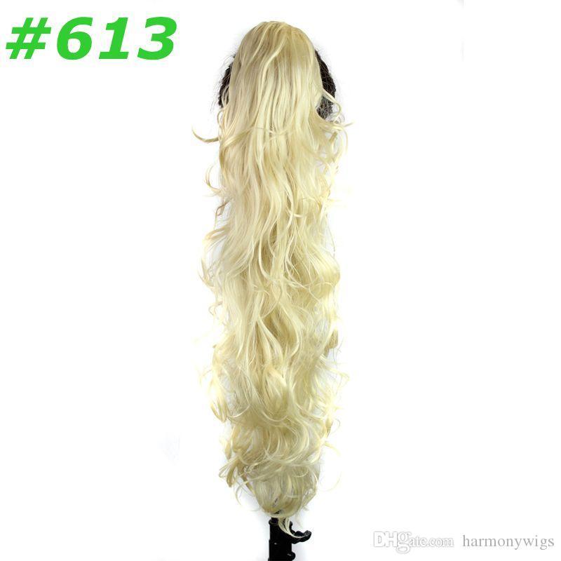 Caballo de caballo sintético PonyTails Claw Pony Tails Mujeres Rizado ondulado clip en las extensiones de cabello 31 pulgadas 220 g Piezas de pelo