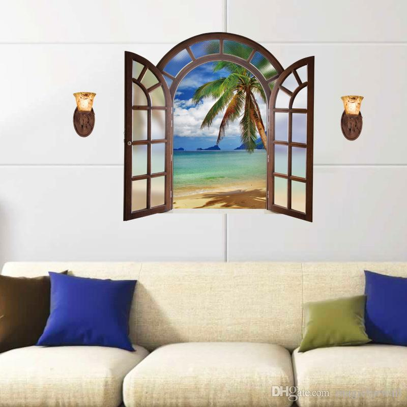 3D Window View Wall Stickers The light House on the Sea Window Effect Wall Art Mural Poster Home Decor Euro Scenery of Sea Wall Graphic