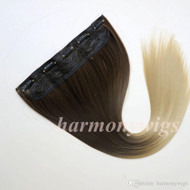 Klip at kuyruğu sentetik Düz saç 120g 22 inç ombre iki renk sentetik saç uzantıları en çok satan