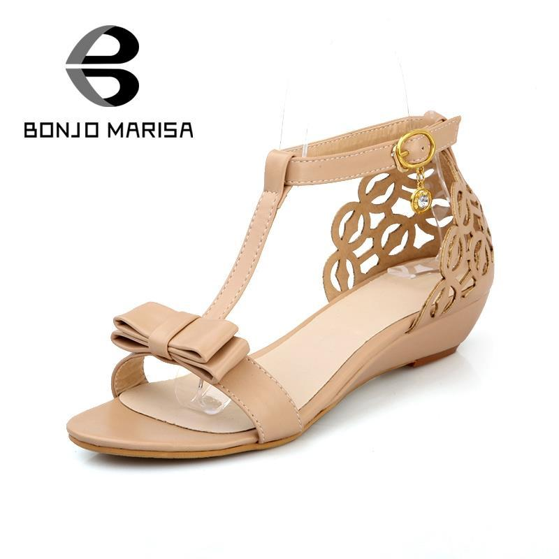 2134f60732b7 Wholesale Large Size 33 43 Cute New Arrival High Quality Rhinestone  Fretwork Elegant Sweet Summer Shoes Buckle Strap Women Wedge Sandals Womens  Loafers ...