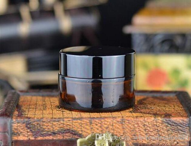 Fabrik-Preis-Creme-Flasche, 20g bernsteinfarbenes Glas-leeres nachfüllbares kosmetisches Sahneglas-Topf-Flaschen-Behälter / durch DHL geben Verschiffen frei