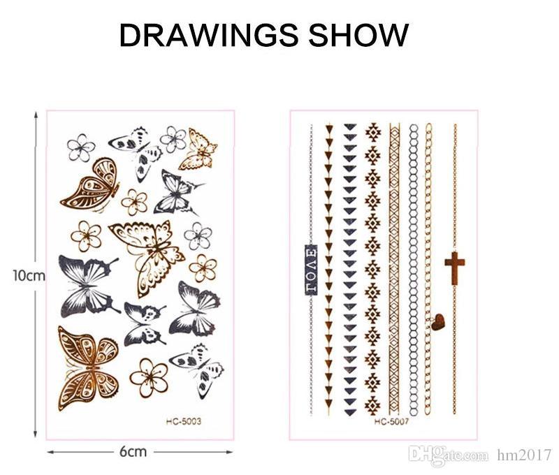 30 نمط هيئة فن الوشم المؤقت ، تصاميم الرباط ديسجين الذهب ، ملصق فلاش الوشم تبقي 3-5 أيام للماء 10.5 * 6 سم