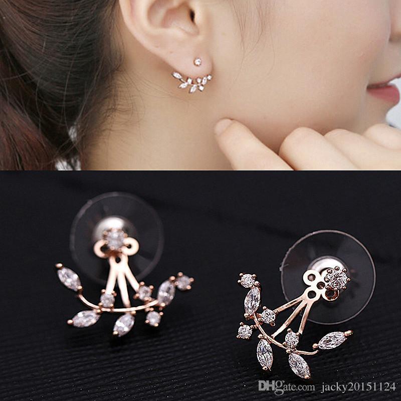 a8eeb284a 2016 New Zircon Crystal Ear Cuff Clip Leaf Double Stud Earrings For Women  Jacket Piercing Earrings Fine Jewelry