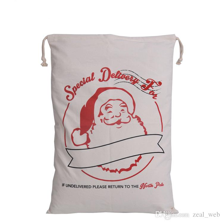 2016 hot sales Christmas Large Canvas Bags 10 styles option Santa Claus Drawstring Bags gift packing bag