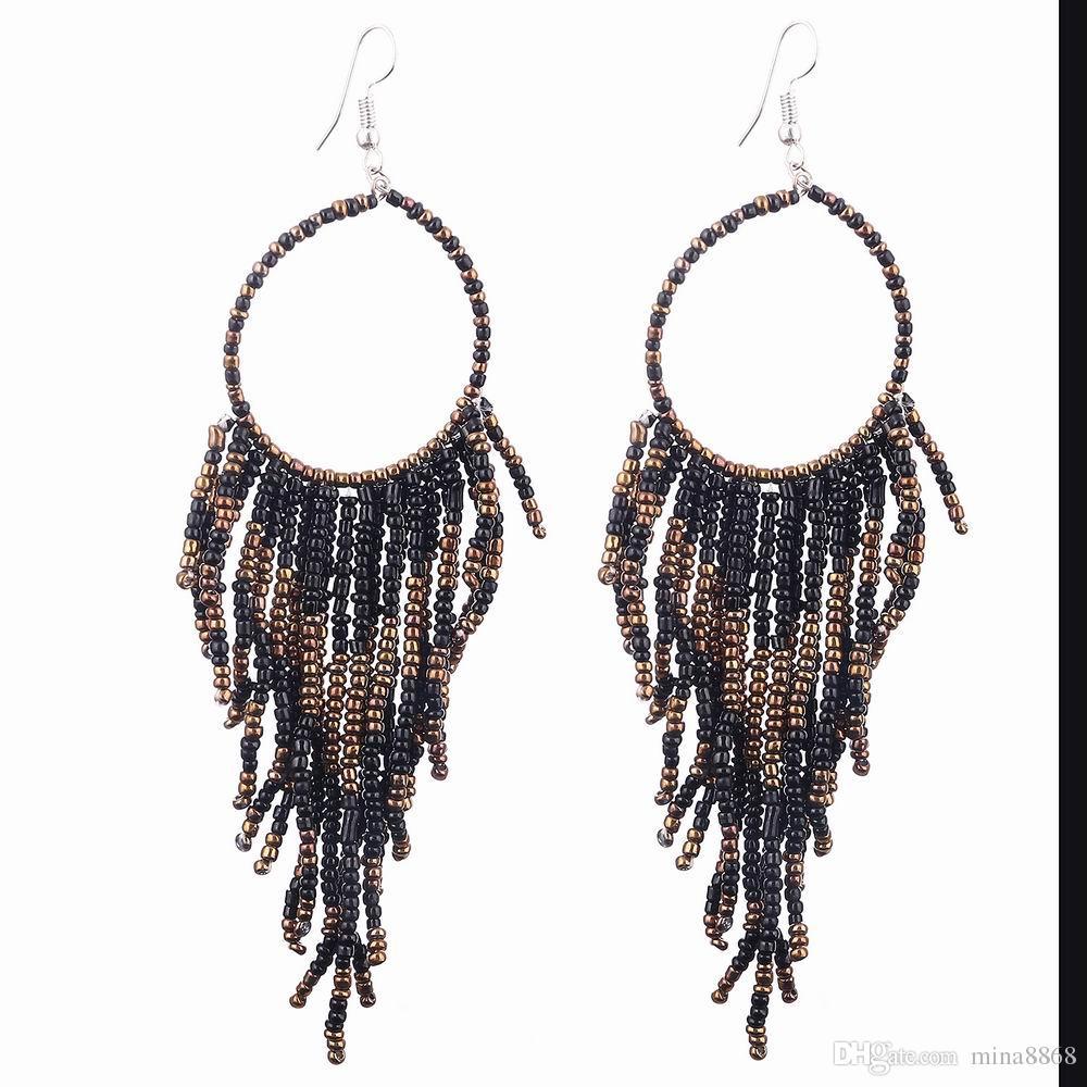 Vintage Bohemia Handmade Beaded Earrings Multilayer Tassels Bead Long Dangle Earrings Fashion Femal Jewelry Special Store