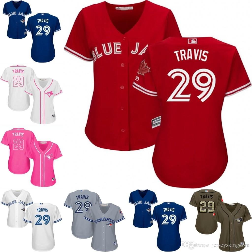 2017 womens toronto blue jays jersey 29 devon travis blue red grey white offical national flag