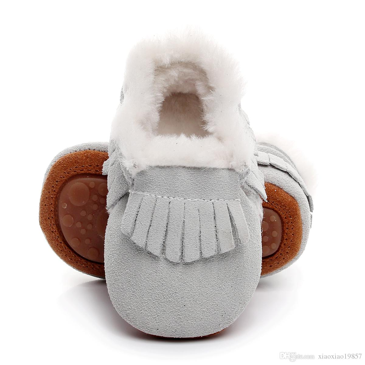 2018 새로운 모카신 부츠와 모피 양털 줄 지어 열심히 고무 밑창 따뜻한 스노우 부츠 겨울 아기 신발 남녀