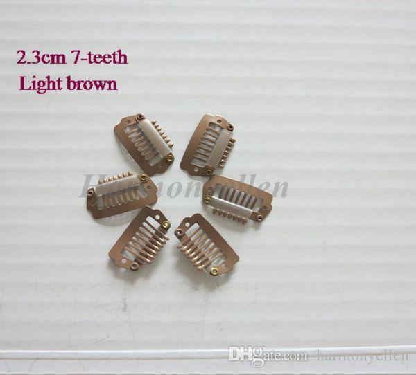 100 PÇS / LOTE 2.3 cm 7 dentes Grampos de Pressão Pretos para Extensões de Cabelo Perucas e Trama